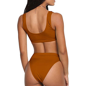 Dixperfect Two Pieces Bikini Sets Swimsuit Sports Style Low Scoop Crop Top High