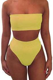 Pink Queen Women's Removable Strap Wrap Pad Cheeky High Waist Bikini Set