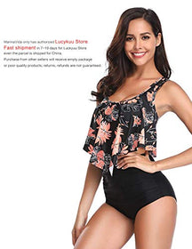 MarinaVida Two Pieces Bathing Suits Top Ruffled Racerback with High Waisted Bottom Tankini Set