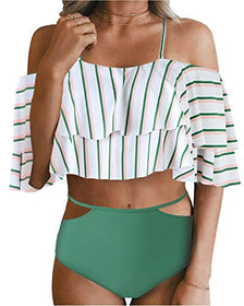 Tempt Me Sexy Womens Two Piece Off Shoulder Ruffled Crop Bikini Top with Print Cut Out Bottoms