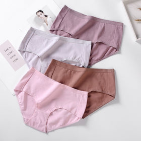 4pcs/Lot , Cotton Panties Sexy Women Underwear Briefs Breathable for Girls Panty Lady Seamless Underpants Lingerie