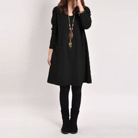 Womens Robe Casual Long Sleeve Blouse Tops Loose Pockets Sweater Tunic Dress