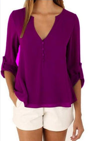 Women V Neck Solid Chiffon Blouse Sexy Lady Long Sleeve Shirts Tops