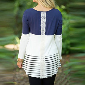 Women's Back Lace Color Tops Long Sleeve T-shirts Blouses