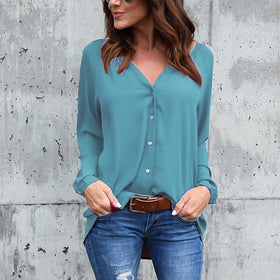 Women Fashion Casual V-neck Button Pure Color Chiffon Blouse