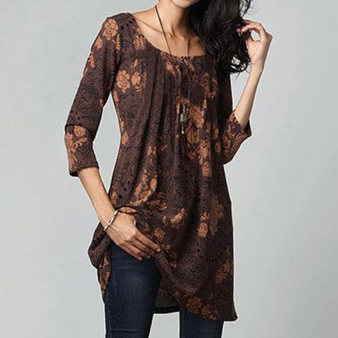 3/4 Sleeve Waist Floral Printed O-Neck Tunic Dress Tops