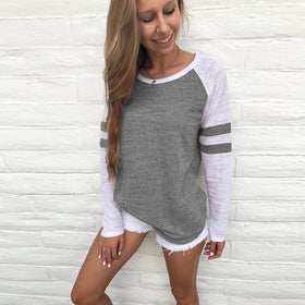 Ladies Long Sleeve Splice Blouse Tops Clothes T Shirts Casual Shirt