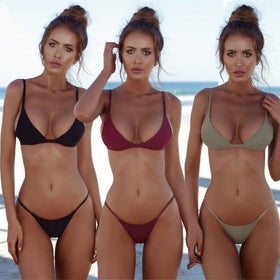 Women Push Up Bikini Set Sexy Solid Color Summer Hot Bathing Suit Swimsuit Casual Beachwear Bra + Bikini Bottom