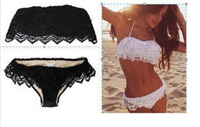 Women Bikini Set Bandage Push Up Ruffle Lace Padded Bra Bathing Suit Beachwear