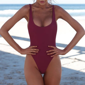 Sexy Push Up One-piece Backless Solid Retro Triangle Swimsuit Swimwear
