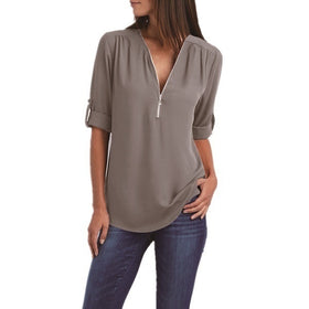 Women's Fashion Chiffon Shirt V-neck Long Sleeve Loose Tops Zipper