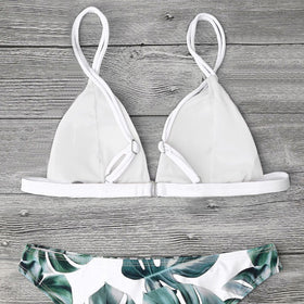 Women Bikini Leaf Printed Two Piece Split Bikini Set Swimwear