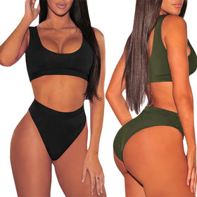 Women's Two Pieces Swimsuit Low Scoop Crop Top High Waisted Cheeky Bottom Bikini Sets