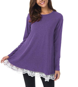 Women Lace Long Sleeve Tunic Top Blouse with Pockets Casual Loose Tops