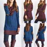 Women's Cowl Neck Tops Two Tone Color Block Pullovers Elbow Patches Loose Long Tunic Blouse
