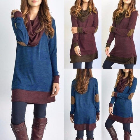 Women's Cowl Neck Tops Two Tone Color Block Pullovers Elbow Patchs Loose Long Tunic Blouse Plus Size S-5XL