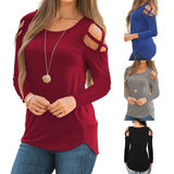 Womens Fashion Casual Loose Tunic Long Sleeved Shoulder Shirt