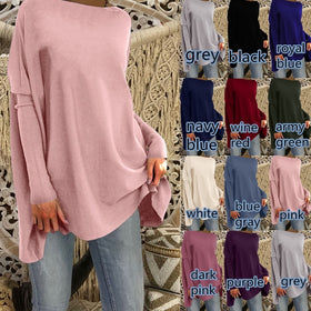 Long Sleeve Tops Winter Jumper Loose Solid Color Pullover Sweater Blouse