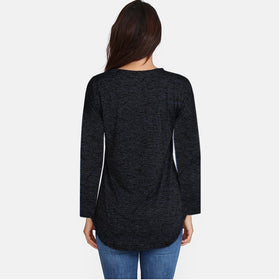 Women Spring Autumn Long Sleeve Zipper V-neck Top