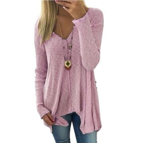 Knit Pullover Fashion Women's Tops Long Sleeve Cotton Fabric T-Shirt Plus