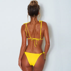Women's Three-point Backless Lace Up Solid Color Bikini Sling Beach Tankini Swimsuit Set
