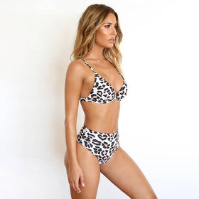 Women Bikini Set Push-up Leopard Floral Swimsuit Ladies High Waist Brief Underwear Set Swimwear