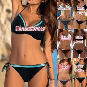 Fashion Bandage SwimSuits Colorblock Bikini Sets Beachwear