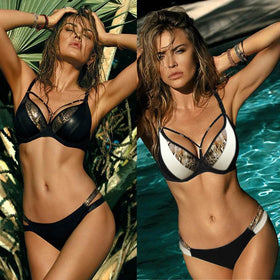 Women Sexy Bikini Set Halter Bikini Snake Skin Womens Swimwear Low Waist Swimsuit Push Up Swim Suit