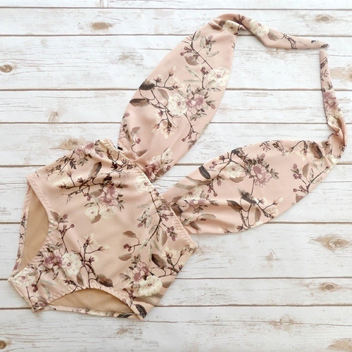 Summer Fashion Print Floral One-piece Bikini Swimsuit