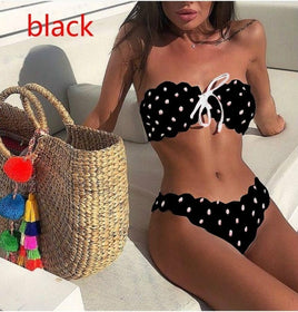 Women's Dot Printed Bikini Set Push-Up Padded Bow Swimwear Swimsuit Beachwear