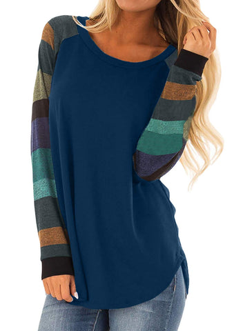 Womens Casual Color Block Long Sleeve Pullover Tops Loose Lightweight Tunic Sweatshirt