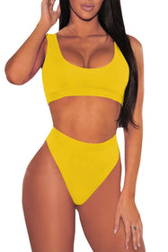 Pink Queen Women's Crop Top High Waisted Cheeky Bikini Set Two Piece Swimsuits