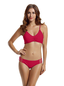 zeraca Strap Side Bottom Halter Racerback Bikini Bathing Suits (FBA) Red