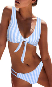 BMJL  Sexy Detachable Padded Cutout Push Up Striped Bikini Set Two Piece Swimsuit
