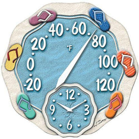 Springfield 12 in. Sandals Thermometer with ClockSpringfield 12 in. Sandals Thermometer with Clock