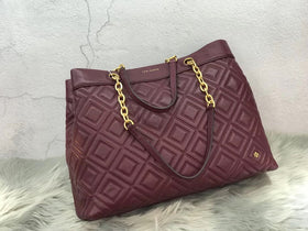 Tory Burch Imperial Garnet Fleming Triple Shoulder Tote