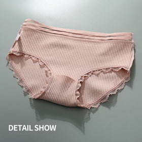 Sexy Cotton Crotch Mid-Rise Transparent Waist Panties No Trace Large Size Comfortable Breathable 3pcs/lot