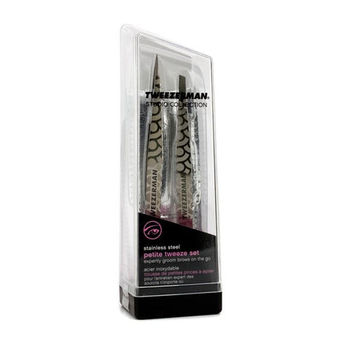 Petite Tweeze Set: Slant Tweezer + Point Tweezer - (Regency Finish w/ Silver Leather Case) - 2pcs