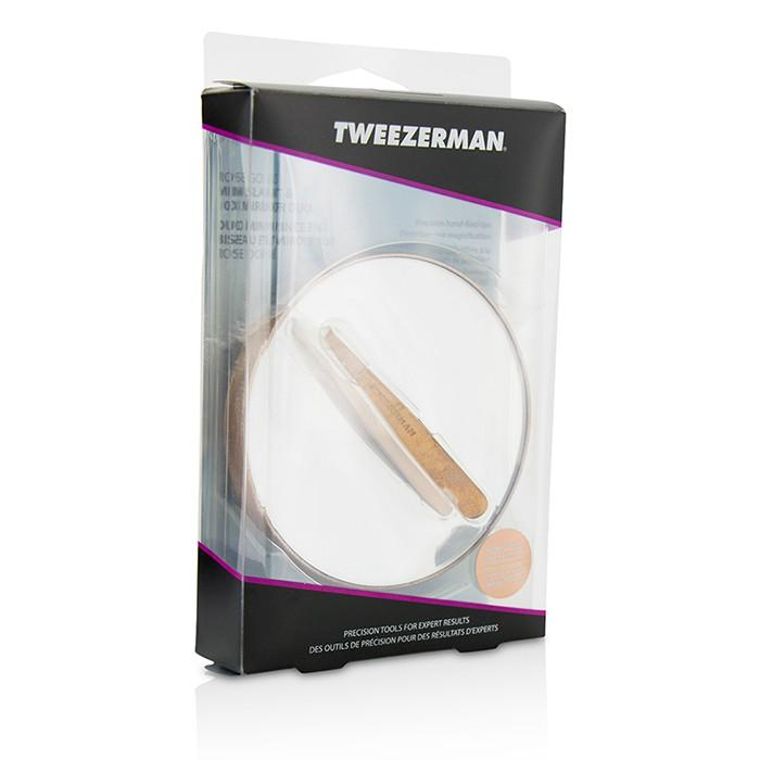 Rose Gold Mini Slant Tweezer And 10X Mirror - -