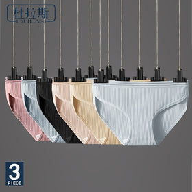 Sexy Cotton Crotch Mid-Rise Transparent Waist Panties No Trace Large Size Comfortable Breathable Underware 3pcs/lot