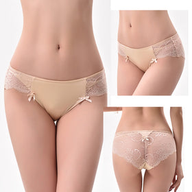 Sexy Lace Panties Women Briefs Seamless Underwear Silk Ladies Transparent Bikini Cotton for Girls Erotic Panty 3pcs/lot