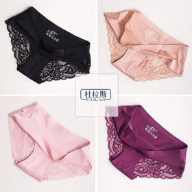 Sexy Panties Lace Women Underwear Seamless Silk Briefs Girls Ladies Underpants Satin Nylon Cotton Crotch Lingerie 4pcs