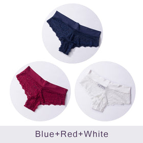 Ultra Soft Women's Sexy Lace Panties Thongs G Strings Seamless Underwear Women Panty Briefs Bikini Cotton 3pcs/lot