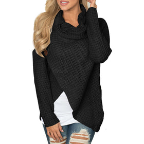 Women knitted pullovers Long Sleeve o neck Solid girl Pullover Sweater