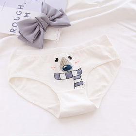 Women's panties Polar bear pattern cotton underwear gril briefs lingerie ladies underpants cartoon woman intimate female panty