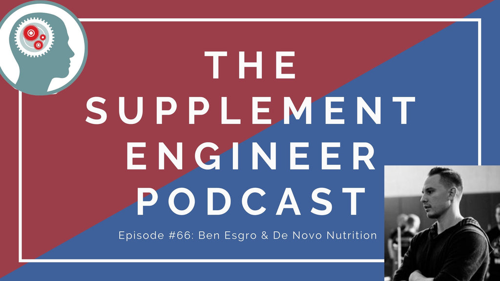 "Episode 66 of the Supplement Engineer Podcast features the founder and chief operating officer of De Novo Nutrition, Ben Esgro, to discuss the companies origins, finding the ""next creatine"", and more"