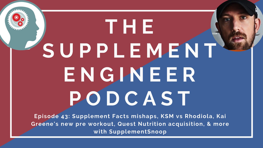 Episode #43 of the Supplement Engineer Podcast features another Q&A session with SupplementSnoop covering Kai Greene's new pre workout, Quest Nutrition and ONE Bar acquisitions, and more!