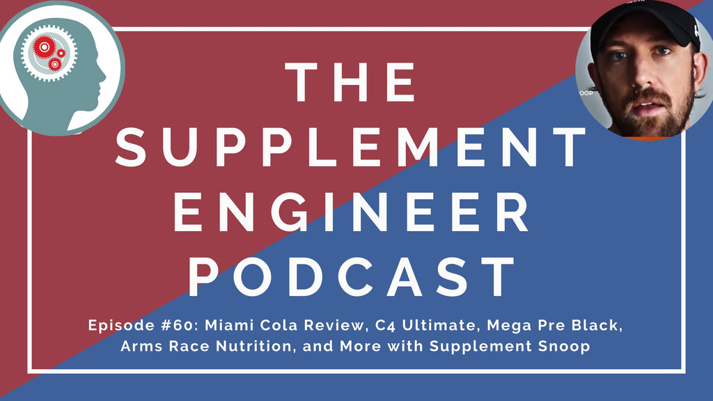 In episode 60 of the Supplement Engineer Podcast, Justin Hall (supplement snoop) and I discuss Primeval Labs new Mega Pre Black Formula, VPX Bang Miami Cola, Sweat Ethic Create'd, Arms Race Nutrition Protein, and more