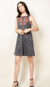 Cheetah embroidered dress