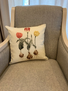 Tulips with bulbs pillow